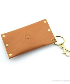 American Benchcraft Key Chain Cardholder with Snap Closure Natural Leather & Gold