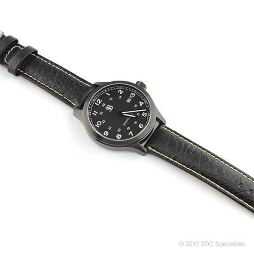 Smith & Bradley Springfield PVD Coated Black Watch with Black Leather Strap