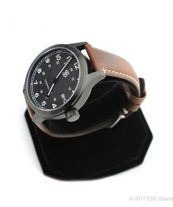 Smith & Bradley Springfield PVD Coated Black Watch with Brown Leather Strap