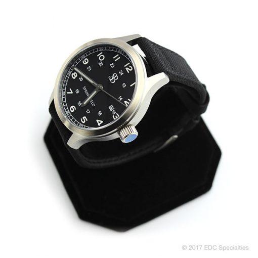Smith & Bradley Springfield Stainless Steel Watch with Black Cordura Strap