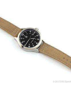 Smith & Bradley Springfield Stainless Steel Watch with Tan Cordura Strap