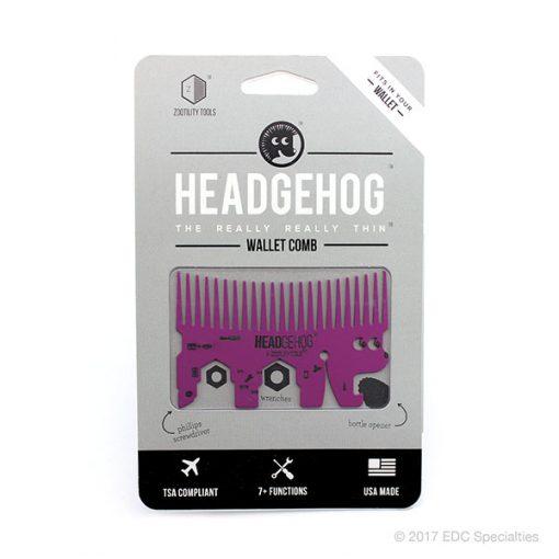 Zootility Tools Headgehog Pocket Comb Multitool Magenta