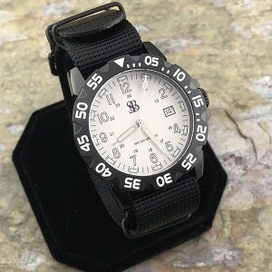 Smith & Bradley Sans-13 Stainless PVD Coated White Watch with Interchangeable Straps
