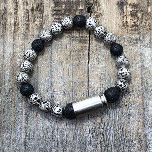 Heart of Brass Jewelry .40 Cal Ballistic Lava Rock Diffuser Bracelet Silver