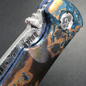 EXCLUSIVE! Southern Grind & EDC Specialties Collaboration Copper Patina Spider Monkey w Damasteel Stainless Rose Pattern Damascus