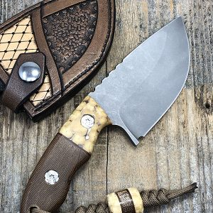 Borras Kustoms Fixed Blade S35VN Stonewashed Blade Exotic Material Handles and Lanyard Bead w Sheath