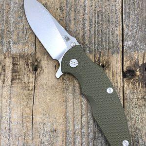 Rick Hinderer Knives Jurassic Knife CPM20CV Slicer Stonewashed OD Green G10 Scale