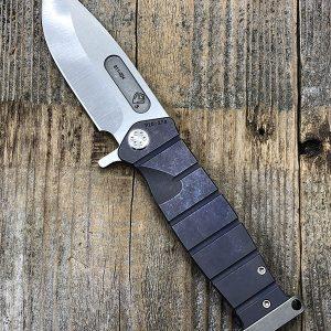 Medford Knife & Tool USMC Fighting Folder S35VN Tumbled Blade Blue Ano Handle