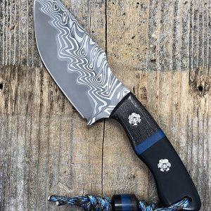 Borras Kustoms Overwatch Fixed Blade Chad Nichols Damascus Exotic Material Handles and Lanyard Bead w Sheath