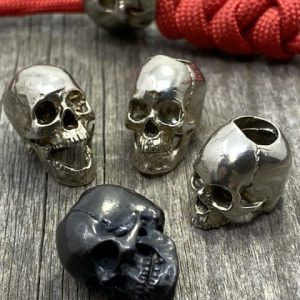 Villain Skull Lanyard Bead Hand Cast 3D Mapped Human Skull w Paracord Lanyard