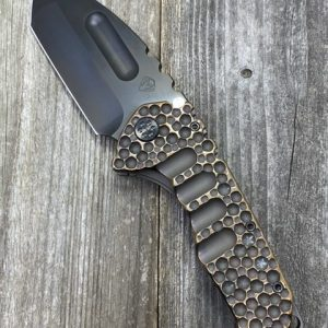 """Medford Knife & Tool Praetorian Ti Custom 3V PVD Tanto Blade Dark Violet Handles w Bronze """"Rose Copper Dimpled"""""""