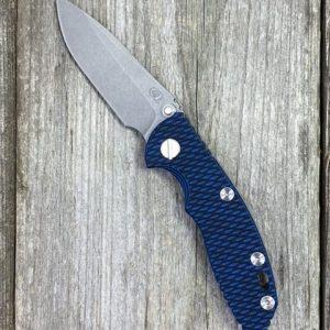 Rick Hinderer Knives Gen 6 XM-18 3″ Non-Flipper TWPS CPM20CV Spearpoint WF Black and Blue G10