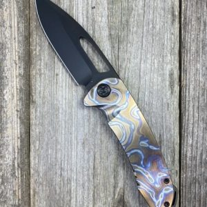 "Medford Knife & Tool On Belay S35VN PVD Blade Faced and Flamed ""Snail Trails"" Titanium Handle"