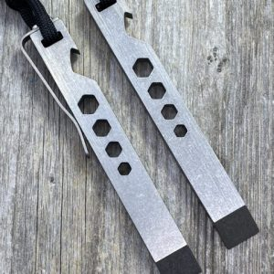 EDC Specialties Every Day Prybar Titanium Multi Purpose Tool w Optional Titanium Pocket Clip & Lanyard