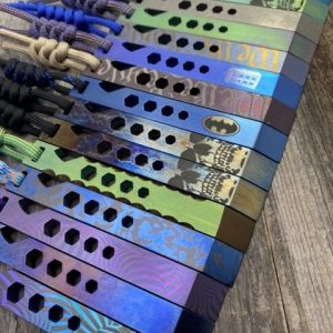 EDC Specialties Every Day Prybar CUSTOM Titanium Multi Purpose Tool w Titanium Pocket Clip & Lanyard