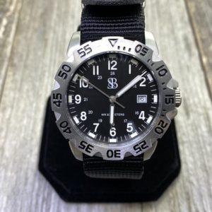 Smith & Bradley SANS-13 Tactical Sport Watch Silver Bezel Black Dial Black NATO Strap Quartz Movement