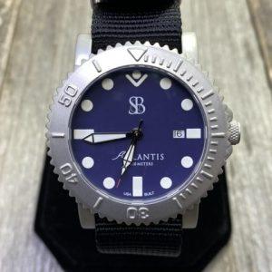Smith & Bradley Atlantis Dive Watch Brushed Stainless Bezel Navy Dial Black NATO Strap Quartz Movement