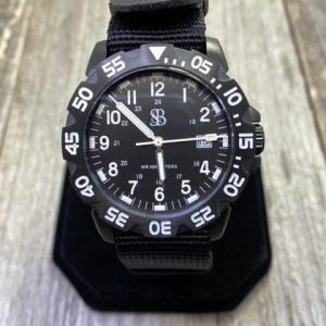 Smith & Bradley SANS-13 Tactical Sport Watch Black Bezel Black Dial Black NATO Strap Quartz Movement