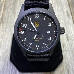 Smith & Bradley Springfield GMT Black Dial Tan Markers Black Case Black NATO Strap Quartz Movement